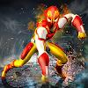 пламя герой летящий супергероя город боец